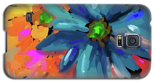 Galaxy S5 Case featuring the painting Big Blue Flower by DC Langer