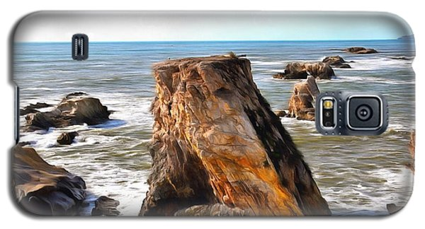 Galaxy S5 Case featuring the photograph Big Rocks In Grey Water Painting by Barbara Snyder