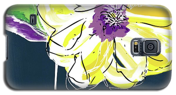 Galaxy S5 Case featuring the mixed media Big Yellow Flower- Art By Linda Woods by Linda Woods