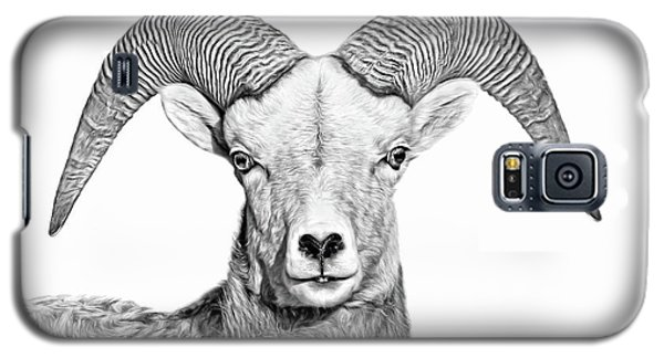 Galaxy S5 Case featuring the photograph Bighorn Sheep Ram Black And White by Jennie Marie Schell