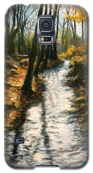 Galaxy S5 Case featuring the pastel Bike Path Brook by Jack Skinner