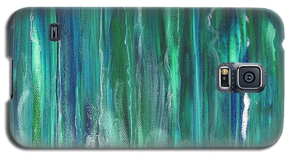 Galaxy S5 Case featuring the painting Birch Canoe At Waterfall by Gary Smith
