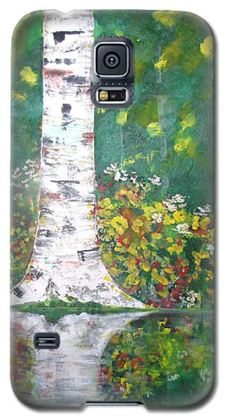 Galaxy S5 Case featuring the  Birch In Flowers by Gary Smith