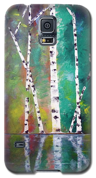 Galaxy S5 Case featuring the painting Birch On Bank by Gary Smith
