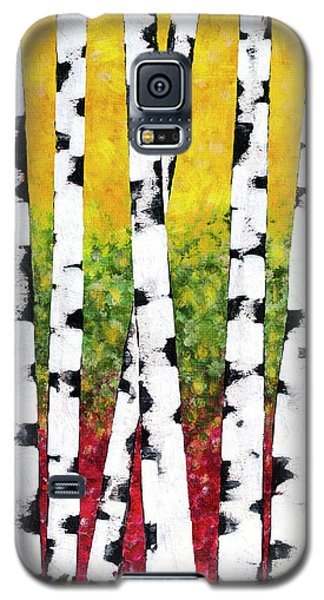 Galaxy S5 Case featuring the mixed media Birch Forest Trees by Christina Rollo