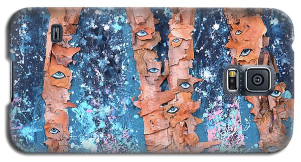 Galaxy S5 Case featuring the mixed media Birch Trees With Eyes by Genevieve Esson
