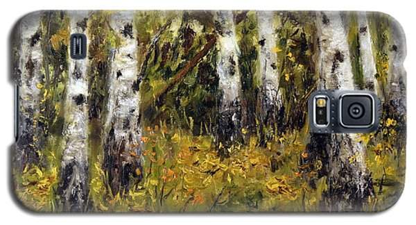 Galaxy S5 Case featuring the painting Birches by Arturas Slapsys