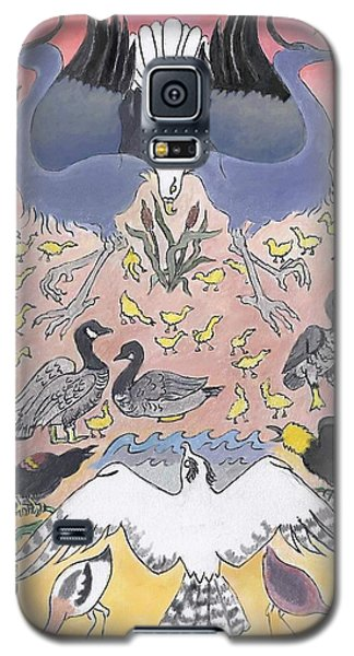 Galaxy S5 Case featuring the painting Bird Festival by Dawn Senior-Trask