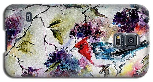 Bird In Elderberry Bush Watercolor Galaxy S5 Case
