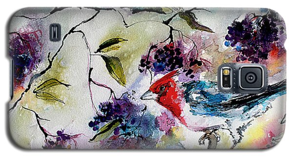 Bird In Elderberry Bush Watercolor Galaxy S5 Case