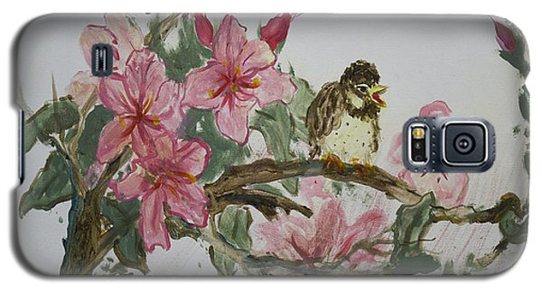 Galaxy S5 Case featuring the painting Bird On Blossoms by Avonelle Kelsey