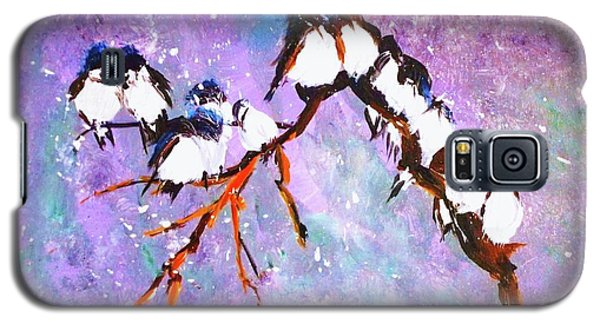 Galaxy S5 Case featuring the painting Bird Snowfall Limited Edition Print 1-25 by Donna Dixon