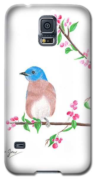Minimal Bird And Cherry Flowers Galaxy S5 Case