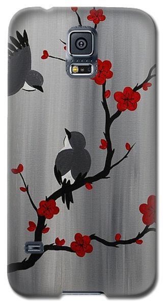 Birds And Blooms In Red Galaxy S5 Case