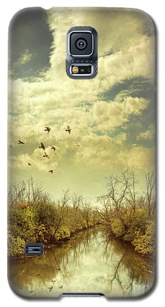 Galaxy S5 Case featuring the photograph Birds Flying Over A River by Jill Battaglia