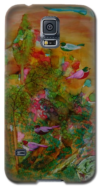 Galaxy S5 Case featuring the painting Birds In Exotic Landscape # 57 by Sima Amid Wewetzer