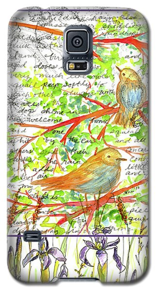 Galaxy S5 Case featuring the painting Bluebirds Nature Collage by Cathie Richardson