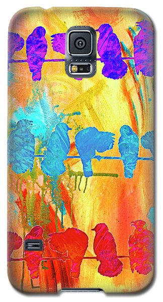Magnolia Galaxy S5 Case - Birds On A Wire Modern Art 2 by Ken Figurski
