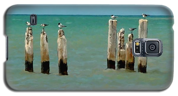 Galaxy S5 Case featuring the painting Birds On Sticks by David  Van Hulst