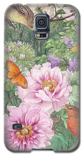 Birds Peony Garden Illustration Galaxy S5 Case by Judith Cheng