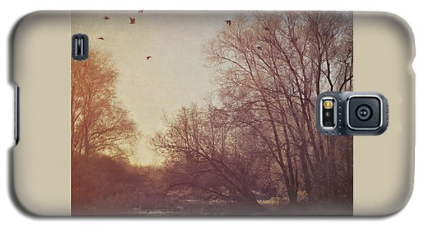 Galaxy S5 Case featuring the photograph Birds Take Flight Over Lake On A Winters Morning by Lyn Randle