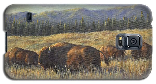 Galaxy S5 Case featuring the painting Bison Bliss by Kim Lockman