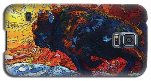Bison Running Print Of Olena Art Wild The Storm Oil Painting With Palette Knife  Galaxy S5 Case