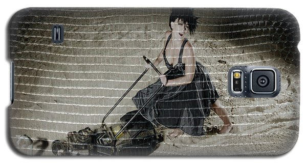 Galaxy S5 Case featuring the photograph Bizarre Girl With Lawn Mower On Beach by Michael Edwards