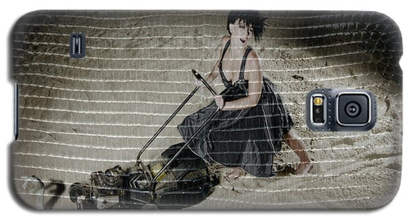 Bizarre Girl With Lawn Mower On Beach Galaxy S5 Case by Michael Edwards