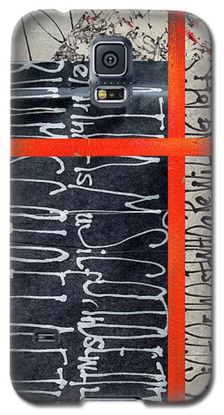 Galaxy S5 Case featuring the painting Black And Red 7 by Nancy Merkle