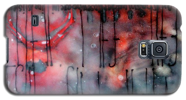 Galaxy S5 Case featuring the painting Black And Red Encaustic 4 by Nancy Merkle