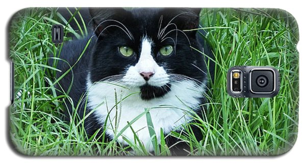Black And White Cat With Green Eyes Galaxy S5 Case