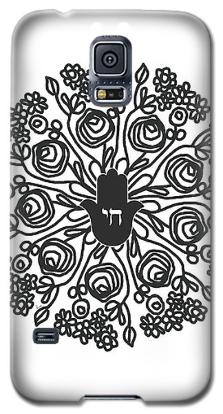Galaxy S5 Case featuring the mixed media Black And White Hamsa Mandala- Art By Linda Woods by Linda Woods
