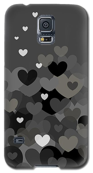 Galaxy S5 Case featuring the digital art Black And White Heart Abstract by Val Arie