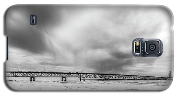 Galaxy S5 Case featuring the photograph Black And White Mackinac Bridge Winter by John McGraw