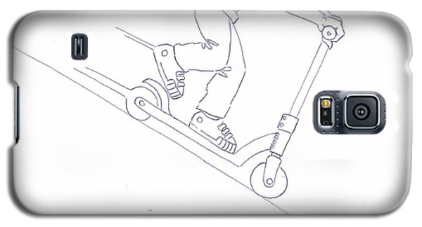 Black And White Micro Scooter Downhill Drawing Galaxy S5 Case