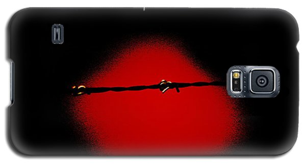Black Barbed Wire Over Black And Blood Red Background Eerie Imprisonment Scene Galaxy S5 Case