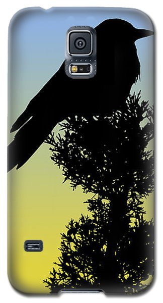 Black-billed Magpie Silhouette At Sunrise Galaxy S5 Case