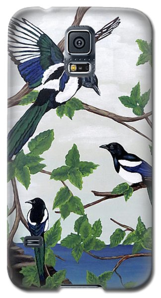 Galaxy S5 Case featuring the painting Black Billed Magpies by Teresa Wing