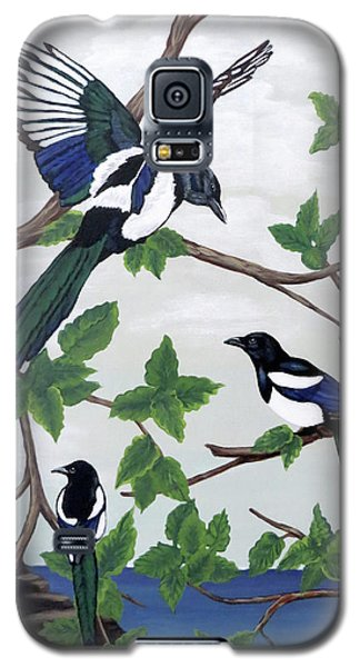 Black Billed Magpies Galaxy S5 Case by Teresa Wing