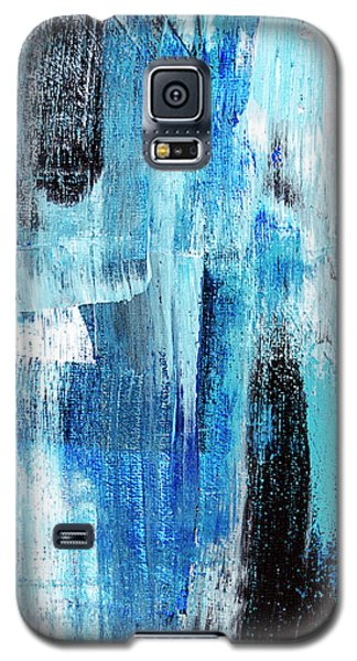 Galaxy S5 Case featuring the painting Black Blue Abstract Painting by Christina Rollo