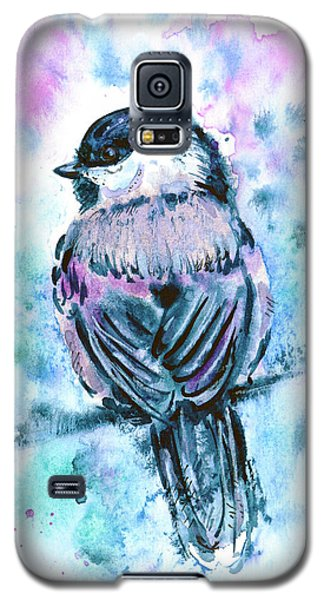 Galaxy S5 Case featuring the painting Black-capped Chickadee by Zaira Dzhaubaeva