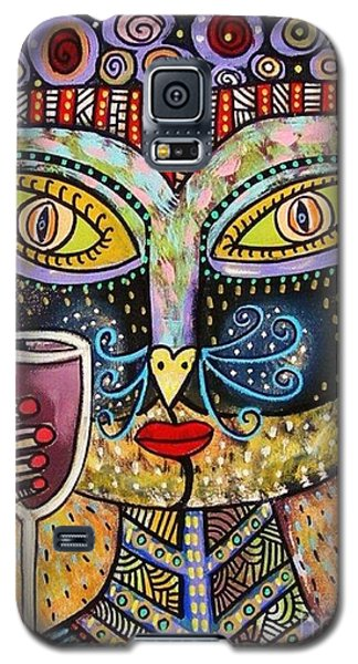 Black Cat Drinking Red Wine Galaxy S5 Case