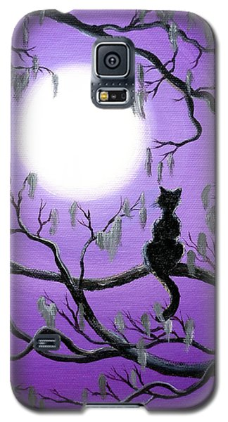 Black Cat In Mossy Tree Galaxy S5 Case
