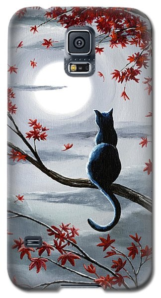 Black Cat In Silvery Moonlight Galaxy S5 Case by Laura Iverson