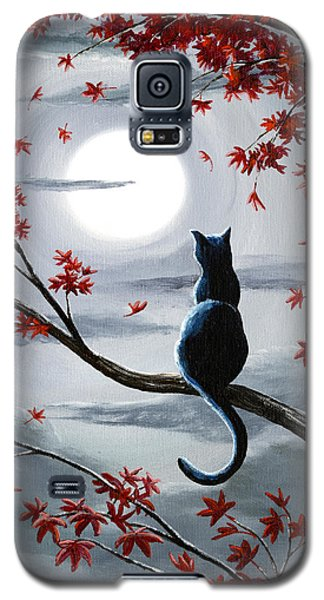 Black Cat In Silvery Moonlight Galaxy S5 Case