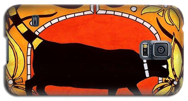 Black Cat With Floral Motif Of Art Nouveau By Dora Hathazi Mendes Galaxy S5 Case by Dora Hathazi Mendes