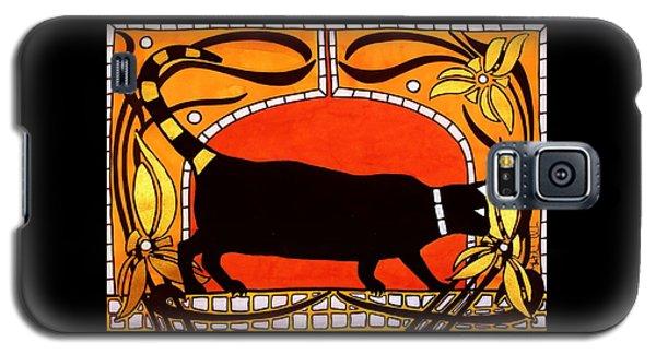 Black Cat With Floral Motif Of Art Nouveau By Dora Hathazi Mendes Galaxy S5 Case
