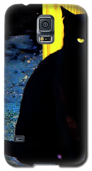 Black Cat Yellow Eyes Galaxy S5 Case