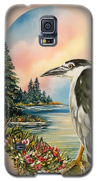 Galaxy S5 Case featuring the painting Black Crowned Heron by Sigrid Tune